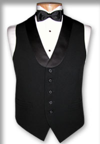Men's Black satin lapel waiter vest