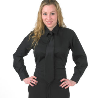 Women's fitted black dress shirt