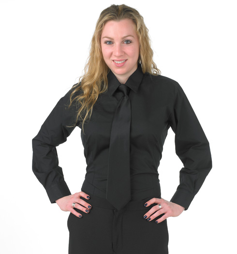 Women's Fitted Black Dress Shirt Tailored to a feminine silhouette ...