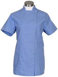 women's short sleeve fitted chef coat
