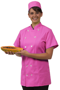 womens short sleeve fitted chef coat