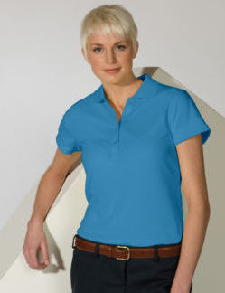 womens marina blue polo shirt